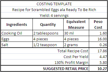 So from our costing template example, one order of scrambled eggs in ...