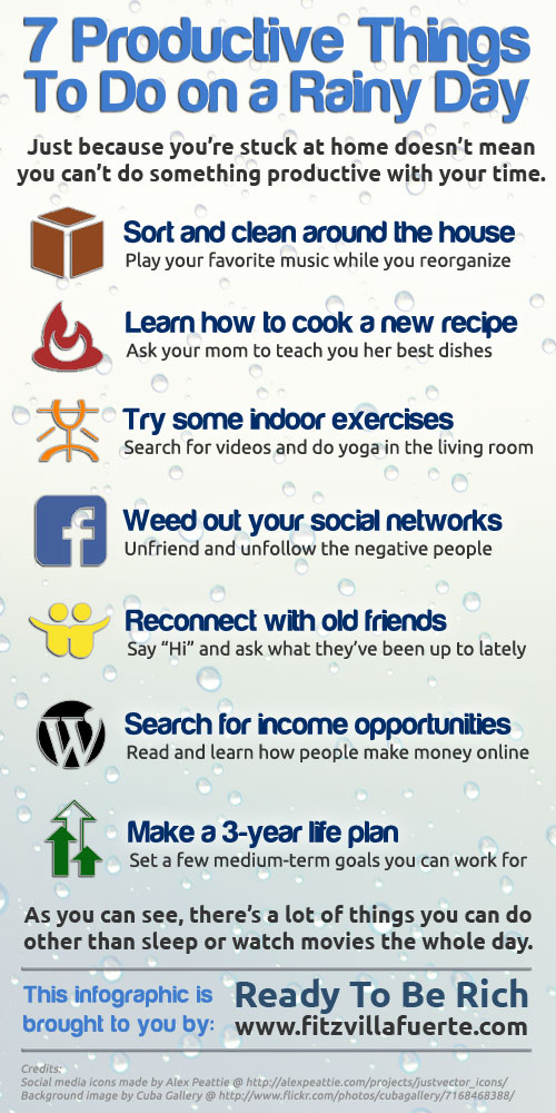 rainy day Infographic: 7 Productive Things To Do on a Rainy Day